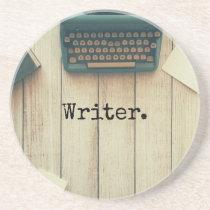 Writer writing desk retro typewriter sandstone coaster
