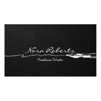 Writers Authors Black and White Dip Pen Dark Linen Business Card