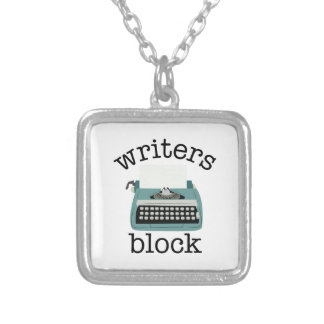 Writers Block Square Pendant Necklace