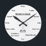"Writer's Clock<br><div class=""desc"">Writing is a lonely business. When you're in the zone,  it's easy to lose track of the hour. With this WFWA Writer's Clock,  you'll always know what time it is.</div>"