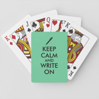 Writers Gifts Keep Calm and Write On Pen Custom Playing Cards