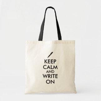 Writers Gifts Keep Calm and Write On Pen Custom Tote Bag