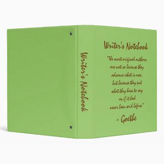 Writer's Notebook - Johann Wolfgang von Goethe 3 Ring Binder
