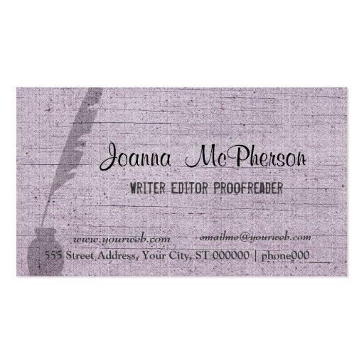 Writer's Pen  Editor Journalist Plain Business Card Template