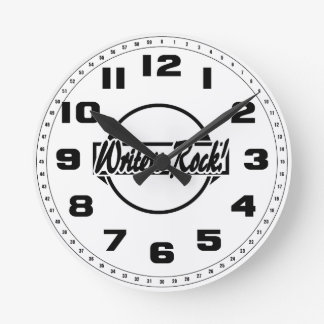 Writers Rock Circle Logo Black White Round Clock