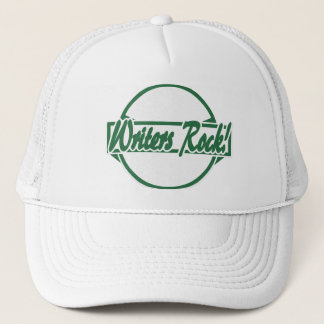 Writers Rock Circle Logo Green Grunge Trucker Hat