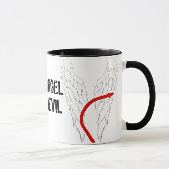 Writing 50% Angel/Devil& Angel Wings With Red Tail Mug