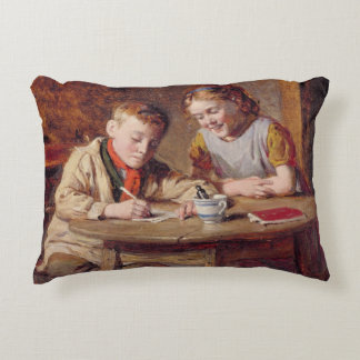 Writing a Letter (oil on panel) Accent Pillow