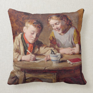 Writing a Letter (oil on panel) Pillows
