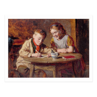 Writing a Letter (oil on panel) Postcard