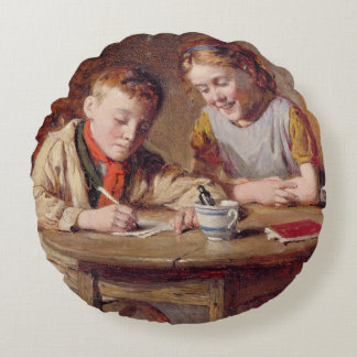 Writing a Letter (oil on panel) Round Pillow