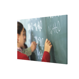 writing chemical equations on the blackboard in canvas print