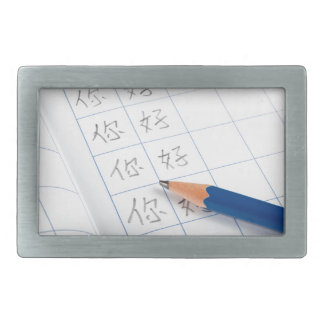 Writing chinese characters rectangular belt buckles