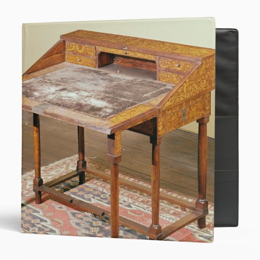 Writing desk, walnut with arabesque marquetry 3 ring binders