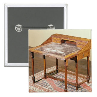 Writing desk, walnut with arabesque marquetry button