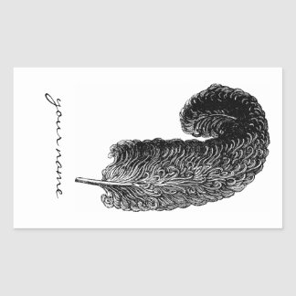 Writing Feather Bookplate Stickers