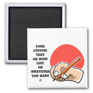 writing hand and pencil cartoon style illustration magnet