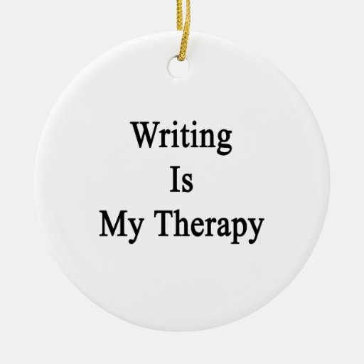 Writing Is My Therapy Double-Sided Ceramic Round Christmas Ornament