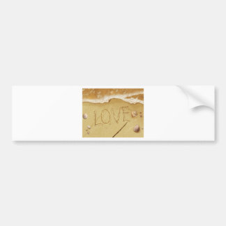 Writing Love In The Sand Bumper Sticker