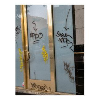 writing on the door postcard