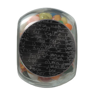 Writing once upon a time black silver kids story glass candy jars