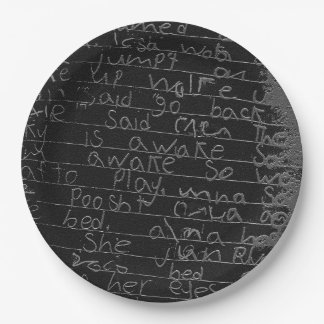 Writing once upon a time black silver kids story paper plate