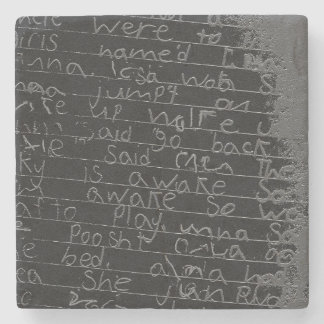 Writing once upon a time black silver kids story stone coaster