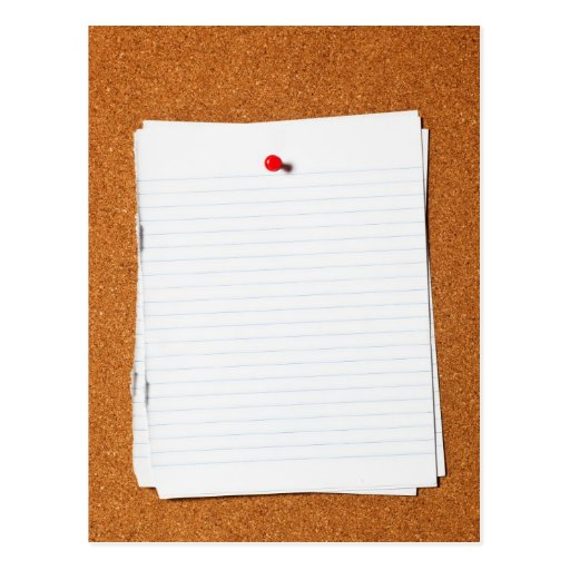 Writing paper on corkboard postcards