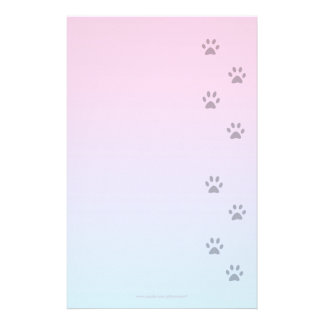 Writing Paper with Cat Footprints Stationery
