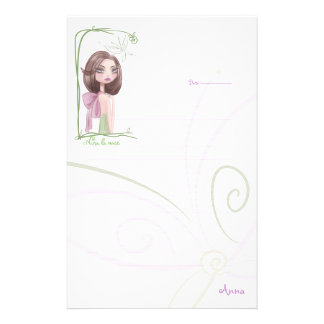 WRITING PAPER, with character Stationery Design