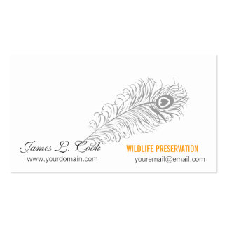Writing Pen Classic Drawing Peacock Feathers Business Card