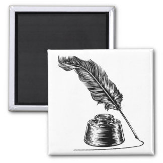 Writing Quill Feather Pen and Ink Well Magnet