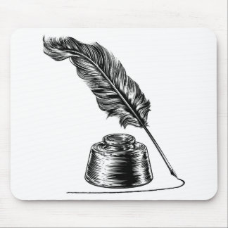 Writing Quill Feather Pen and Ink Well Mouse Pad