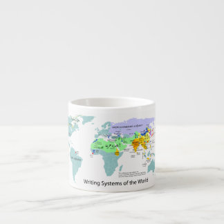 Writing Systems Map of the World Chart Espresso Cup