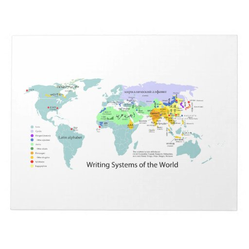Writing Systems Map of the World Chart Memo Pads