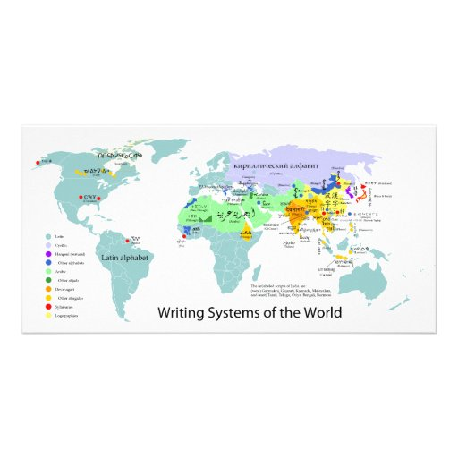 Writing Systems Map of the World Chart Photo Card