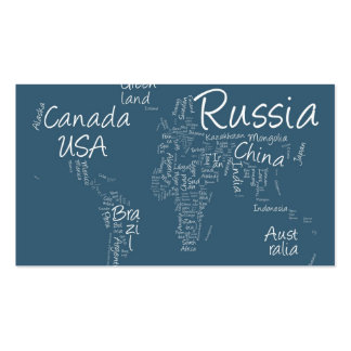 Writing Text Map of the World Map Business Card