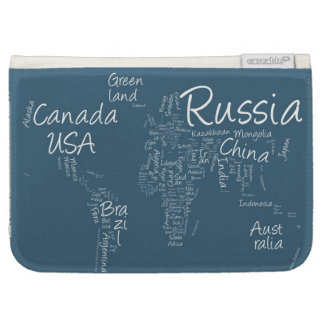 Writing Text Map of the World Map Cases For Kindle