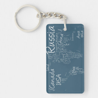 Writing Text Map of the World Map Keychain