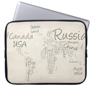 Writing Text Map of the World Map Laptop Sleeve