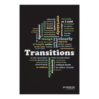 """Writing Transitions 24"""" x 36"""" Classroom Poster"""