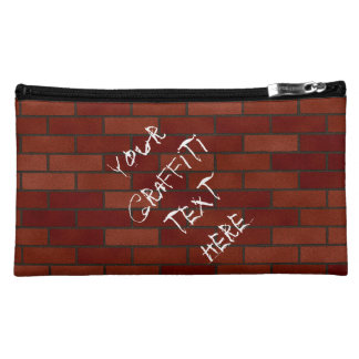 Writings on the brick wall cosmetic bag