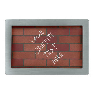 Writings on the brick wall rectangular belt buckle
