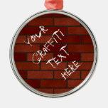 Writings on the brick wall metal ornament