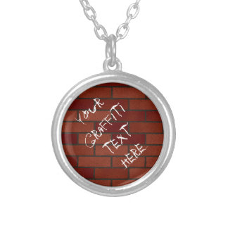 Writings on the brick wall silver plated necklace