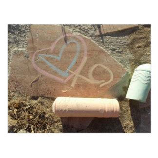 written in stone Chalk Love Message Postcard