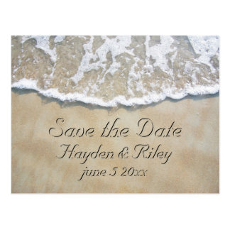 Written in the Sand Beach Save the Date Postcard