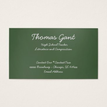 Professional Business Written on a Green Chalkboard Business Card