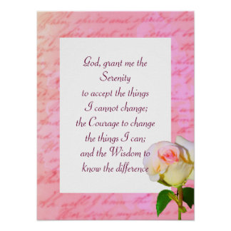 """Written with Rose"" Serenity Prayer Poster"