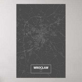 Wrocław, Poland (white on black) Poster